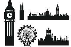 Link to6, london's famous architectural silhouettes vector