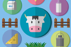 Link to6 pastures dairy element icon vector