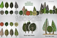 Link to6 pine plant stickers vector map
