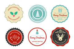 Link to6 round christmas tag vector