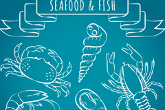 6 seafood design vector