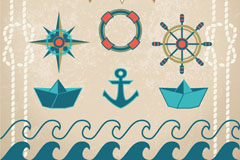 Link to6 vintage nautical element vector