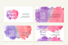 Link to6 water colour business cards vector