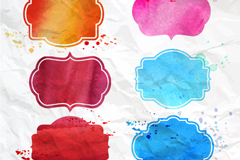 Link to6 water painting blank label vector
