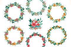 Link to6 watercolor wreath design vector graph