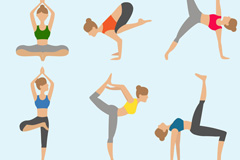 Link to6 women's yoga pose action vector graphics