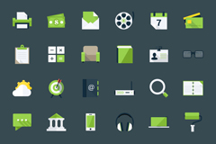 Link to60 flat green business icon vector