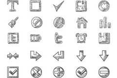 Link to60 hand-drawn web icons design vector