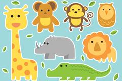 Link to7 cartoon animal stickers vector
