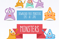 Link to7 cartoon monster triangle against the background vector