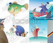 Link to7 commercial cartoon vector illustration