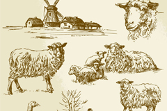 Link to7 hand-painted farm and livestock vector