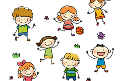 Link to7 painting of children who play vector graphics
