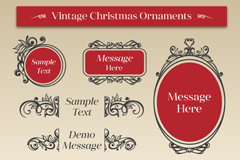 Link to7 retro christmas decorated box, vector