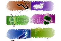 Link to7 traditional chinese ink painting animal plant vector