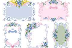 Link to7 vintage border flowers vector