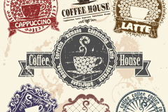 Link to7 vintage coffee label vector