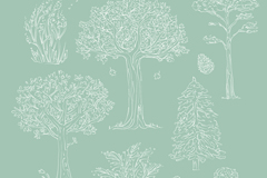 Link to7 white hand-painted tree design vector