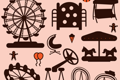 Link to8 amusement park facilities silhouette vector