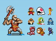 Link to8-bit gaming characters vector free