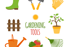 Link to8 cartoon gardening tools vector