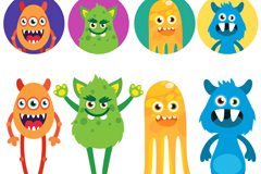 8 cartoon monsters and avatar design vector