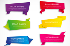 Link to8 color origami banner vector diagrams