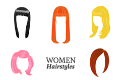 8 color women's hair styles vector