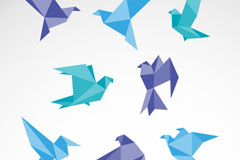 Link to8-colour origami doves vector