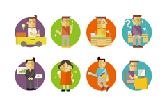 Link to8 creative characters icon vector