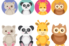 Link to8 cute animals head vector