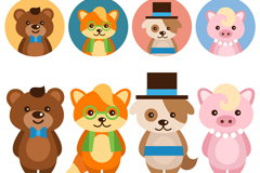 Link to8 cute cartoon animals with head vector