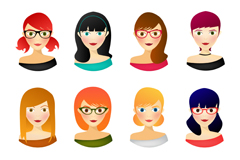 Link to8 fashionable women's avatar design vector