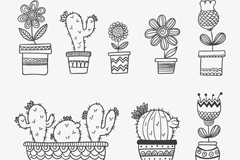 8 hand-painted flower pot vector