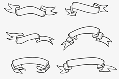 Link to8 hand-painted ribbon design vector