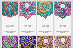 8 national design patterns card vector