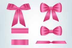 Link to8 pink ribbon and bow vector