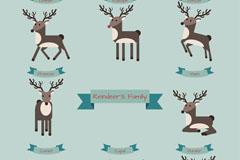 8 reindeer cartoon vector