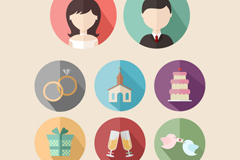 8 round wedding icon vector