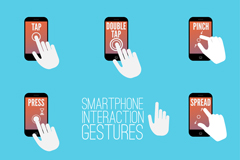 8 smart phone interactive gestures vector graphics