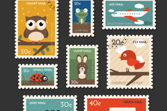 Link to8 travel stamps with animals vector graphics