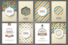 Link to8 vintage patterns card vector
