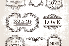 Link to8 vintage valentine pattern tag vector