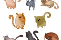 8 water paint cat vector