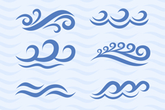 Link to8 waves ripple design vector