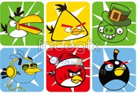 Link to9 angry birds cartoon vector illustration
