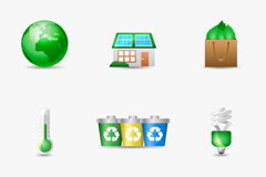 9 beautiful eco-friendly icons vector