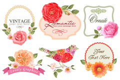 Link to9 beautiful flower label vector diagrams