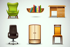 9 beautiful furniture design vector graph