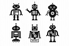 Link to9 black robot design vector